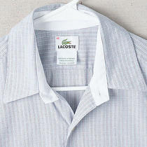Lacoste Fine Gray Blue Plaid Check Shirt - Men's 40 M Medium - Long Sleeve Croc Photo