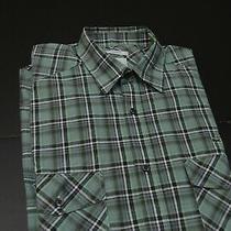 Lacoste Green Plaid Mens 100% Cotton Slim Fit Casual Dress Shirt Size 38 Photo