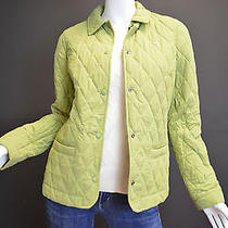 Lacoste Green Quilted Barn Jacket W/pink Interior Lining Sz 36 Photo