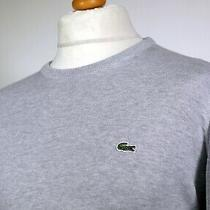 Lacoste Grey Marl Crew Neck Cotton Knit Jumper - M - 80's Casual Ska Mod Scooter Photo