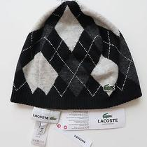 Lacoste Knit Plaid Beanie Skull  Hat Reversible Argyle Winter Ski 100% Authentic Photo