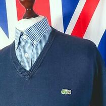 Lacoste Knitted v-Neck Jumper - 2xl/3xl - Navy - Mod Casuals 60's Photo