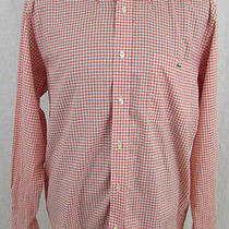 Lacoste  L/s Button Front Shirt  Sz 42  Orange Check  Alligator  Photo