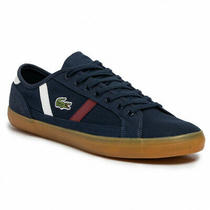 Lacoste Men Casual Low Top Sneakers Sideline 319 Size Us 10 Navy White Red Photo