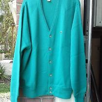 Lacoste Mens 100% Acrylic Green Cardigan Made in Usa Size - L Photo