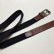 Lacoste Men's Canvas & Leather Blue/brown Belt Size Xl Photo