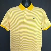 Lacoste Men's l(6) Shirt Polo Striped Short Sleeve Yellow Large Euc Photo