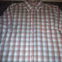 Lacoste Men's Plaid Button-Up Short Sleeve Dress Shirt Sz 40 M L Nice Free Ship Photo