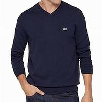 Lacoste Men's Sweater Navy Blue Size 3xl v-Neck Embroidered Logo 98 139 Photo