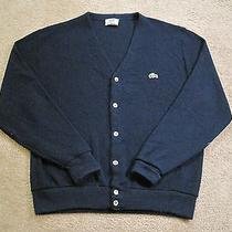 Lacoste Mens Large (L) Vintage Blue Cardigan Sweater - Mother of Pearl Buttons Photo