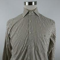 Lacoste Mens Long Sleeve Button Down Tan Brown White Striped Dress Shirt Size 40 Photo