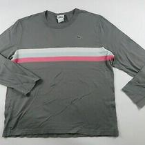 Lacoste Mens Ls Crew Neck Gray T Shirt Multi Color Chest Striped Size 6 or Xl Photo