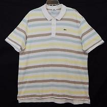 Lacoste Mens Pique Polo Shirt 9 3x Alligator Logo Casual Golf Striped Dress Nice Photo