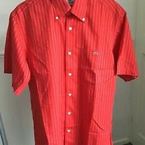 Lacoste Mens Short Sleeve Shirtred With White Stripes Coloursize 40 Photo