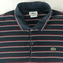 Lacoste Mens Size 6 or Xl Short Sleeve Black Red White Striped Polo Shirt Photo