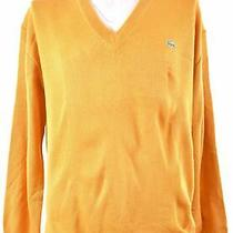 Lacoste Mens v-Neck Jumper Sweater Xl Yellow Acrylic Ls02 Photo