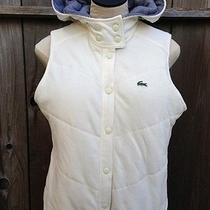 Lacoste Off White/navy Cotton Hooded Vest Jacket Sz 42 Photo