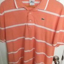 Lacoste Orange & White Striped Cotton S/s Polo Shirt- Mens Xl (7) - Nice Photo