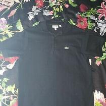 Lacoste Polo Boys Black Short Sleeve Collared Shirt - Size 16 Photo