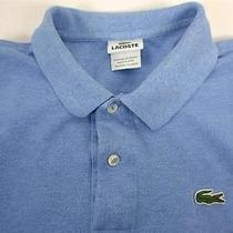 Lacoste Polo Men's Golf Short Sleeve Blue 7 2-Button-Front Photo