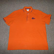 Lacoste Polo Shirt Mens Size 7 Xl Orange Short Sleeve Collar Shirt Big Alligator Photo