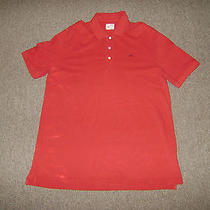 Lacoste Polo Shirt Mens Size 8 Xl Red Short Sleeve Collar Shirt Alligator S Photo