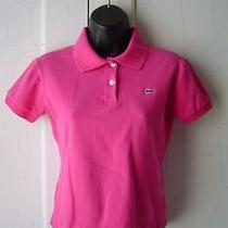 Lacoste Polo Shirt Sz 38 S 6 Pink Pique Logo Cotton Euc Photo