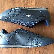Lacoste Romeau Croc Mens Dark Blue Leather Fashion Casual Sneakers New Photo