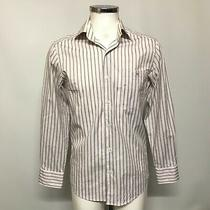 Lacoste Shirt Mens Size 38 White Blue Striped Long Sleeve Smart Casual 484024 Photo