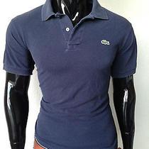 Lacoste Short Sleeve Dark Blue Pique Polo Shirt Size 7 Photo