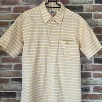Lacoste Short Sleeves Shirt Yellow Border Cotton 100 Size Xl(ll) Photo