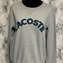 Lacoste Size 4 Gray Long Sleeve Pullover Sweatshirt Logo Theme Photo