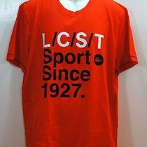 Lacoste Sport Mens Tshirt Graphic Tee Braise Noir Orange Size Sz Xl New Nwt 55 Photo