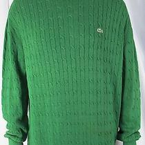 Lacoste Sweater Mens Size 7 Green Cableknit Wool Cotton Crewneck Logo Photo