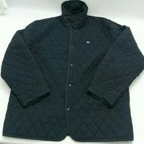 Lacoste (Sz. 60/8) Men's Dark Blue Diamond Quilted Jacket. 26x31 Preowned Photo