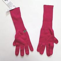 Lacoste Women Pink Knit Crocs Gloves -Nwt-  Small Photo