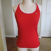 Lacoste Women's Red & White Tank Top Size 40 Gently Worn Photo