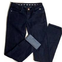 Lacoste Womens Sz 24 Straight Zip Fly Indigo Blue Five Pocket Slim Jeans Photo
