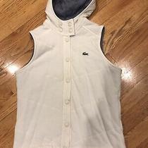Lacoste Womens Size 34 Us Size 2/xs White /navy Croc Gator Logo Vest Hooded Photo