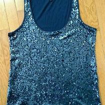 Ladie's Express Blue Sequin Tank Top Size Large Photo