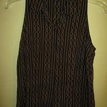 Ladies 10p Brown Silk Striped Inc Sleeveless Button Down Collared Shirt Photo