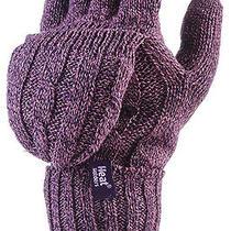 Ladies 2.3 Tog Heatweaver Thermal Fingerless Gloves by Heat Holders Purple Photo