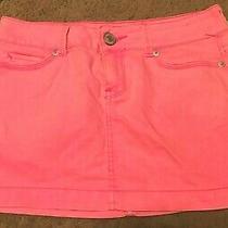 Ladies Aeropostale Pink Denim Skirt Mini Size 0 Photo