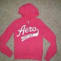 Ladies Aeropostale Pink Logo Hooded Zipper Sweatshirt Size S Photo