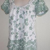 Ladies American Eagle Outfitters White & Green Flower Cap Sleeve Top Shirt  S/p Photo