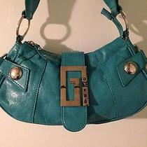Ladies Aqua Guess Hand/shoulder Trendy Purse Photo