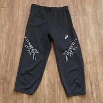 Ladies Asics Cropped Black Gym Leggings Size S Photo