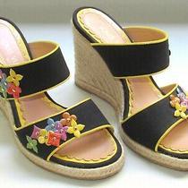 Ladies Auth Shoes Louis Vuitton Paris Sz 38 1/2 Spain High Heel Espadrilles 2b Photo