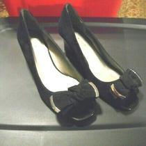 Ladies Bandolino Dress Shoes Size 6 1/2 M Black Wedges Velvet/patent Leather Ln Photo