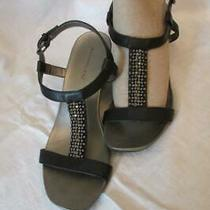 Ladies Bandolino Sandals-Sz 8.5-Black-Wedge Heels- Buckle-Rhinestones/beads Photo